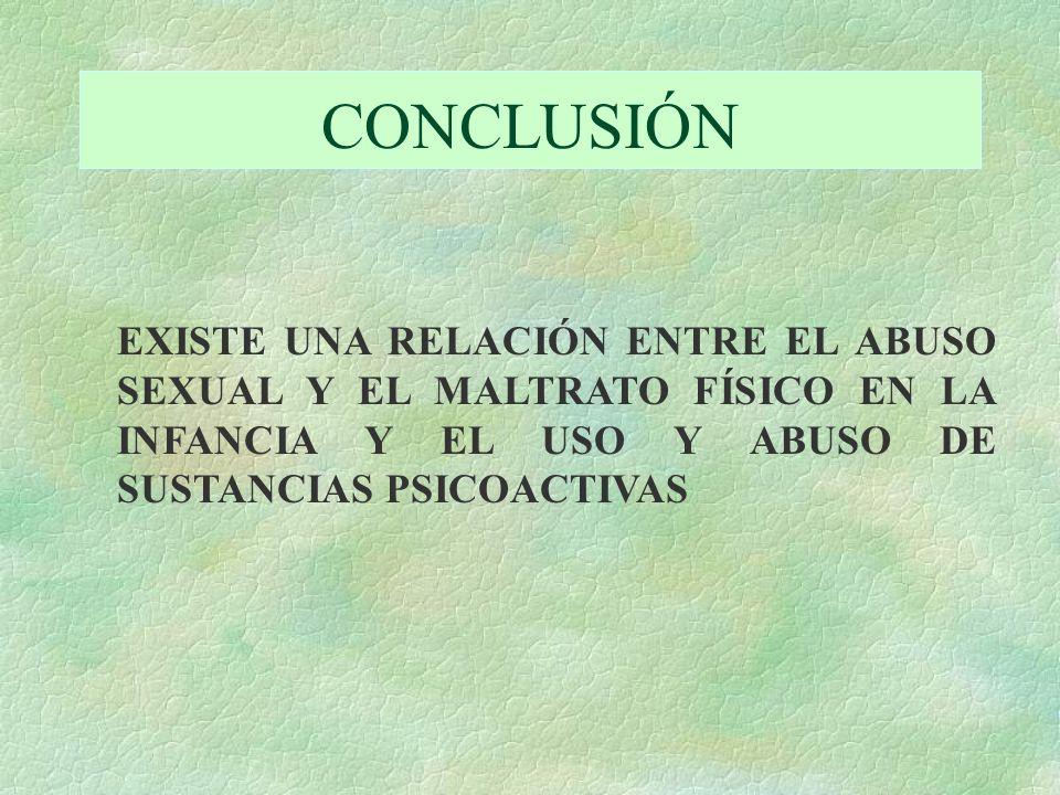 CONCLUSIÓN EXISTE UNA RELACIÓN ENTRE EL ABUSO SEXUAL Y EL MALTRATO FÍSICO EN LA INFANCIA Y EL USO Y ABUSO DE SUSTANCIAS PSICOACTIVAS.