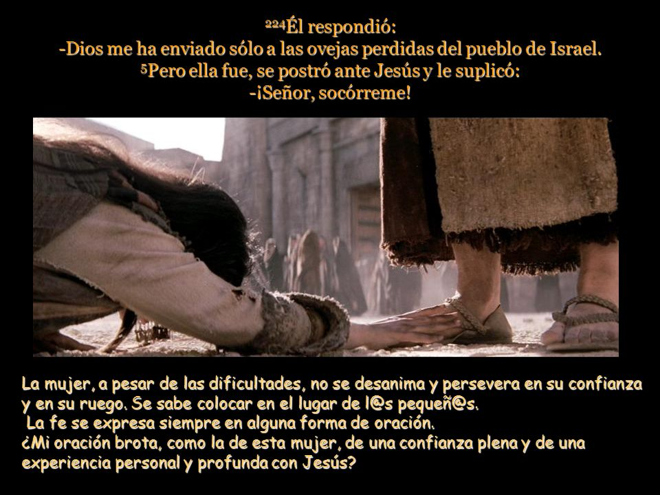 5Pero ella fue, se postró ante Jesús y le suplicó: -¡Señor, socórreme!