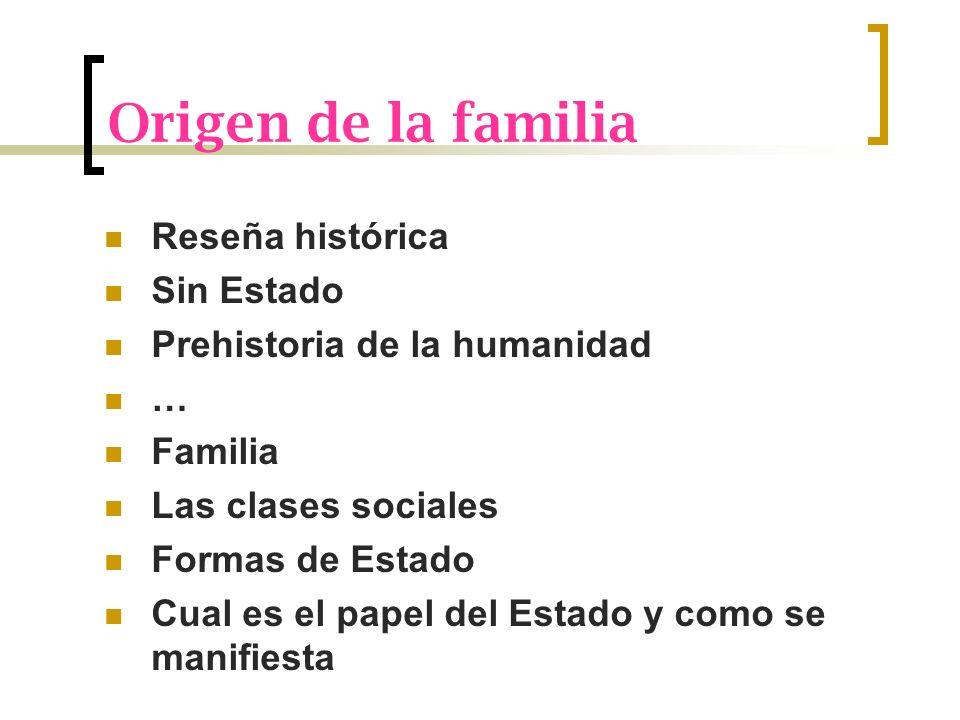 Origen de la familia Reseña histórica Sin Estado