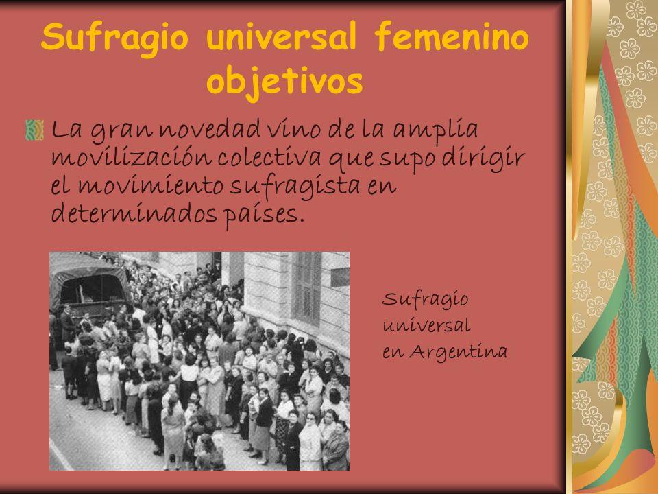Sufragio universal femenino objetivos