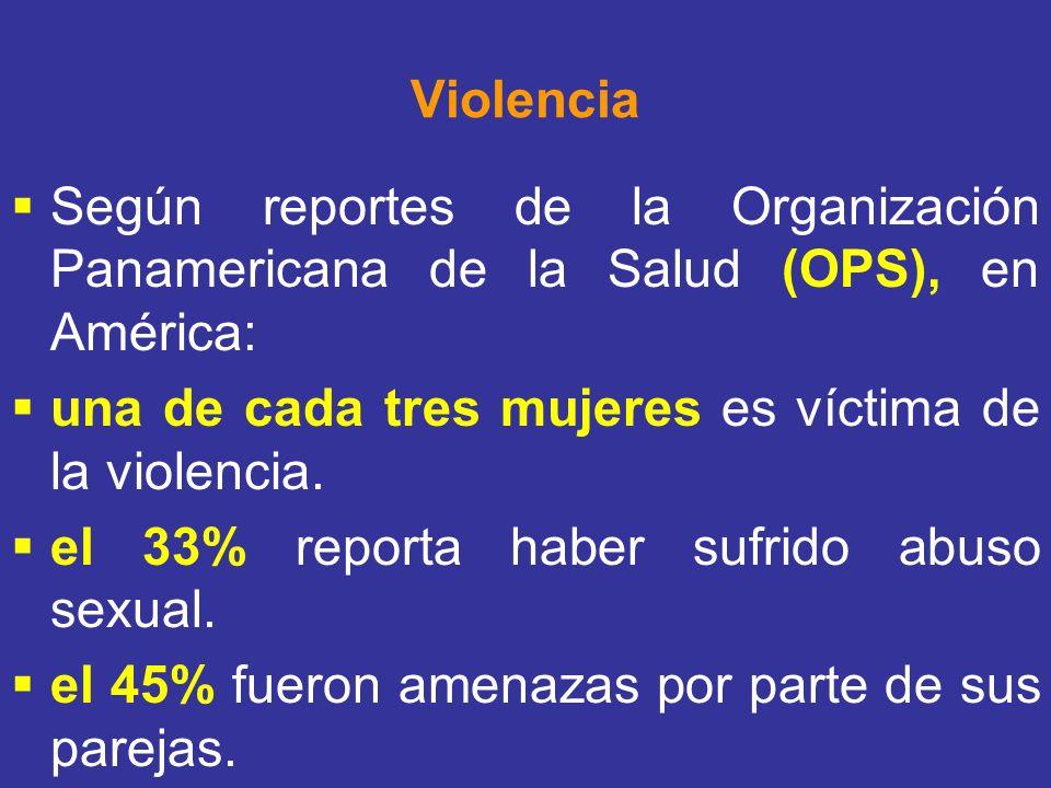 Violencia Según reportes de la Organización Panamericana de la Salud (OPS), en América: una de cada tres mujeres es víctima de la violencia.