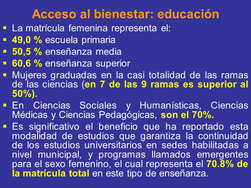 Acceso al bienestar: educación