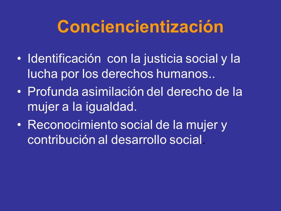 Conciencientización Identificación con la justicia social y la lucha por los derechos humanos..