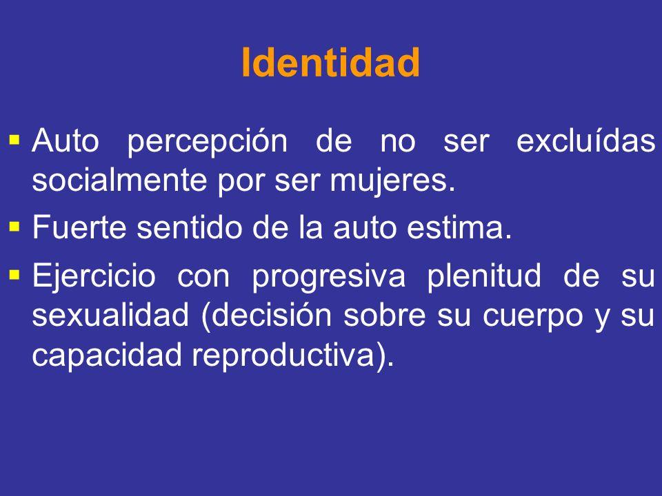 Identidad Auto percepción de no ser excluídas socialmente por ser mujeres. Fuerte sentido de la auto estima.