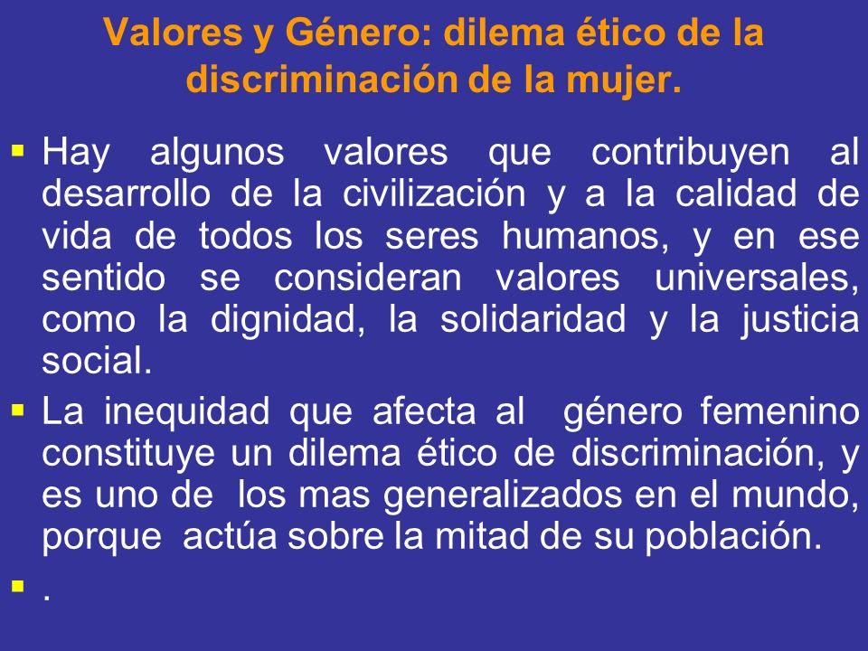 Valores y Género: dilema ético de la discriminación de la mujer.