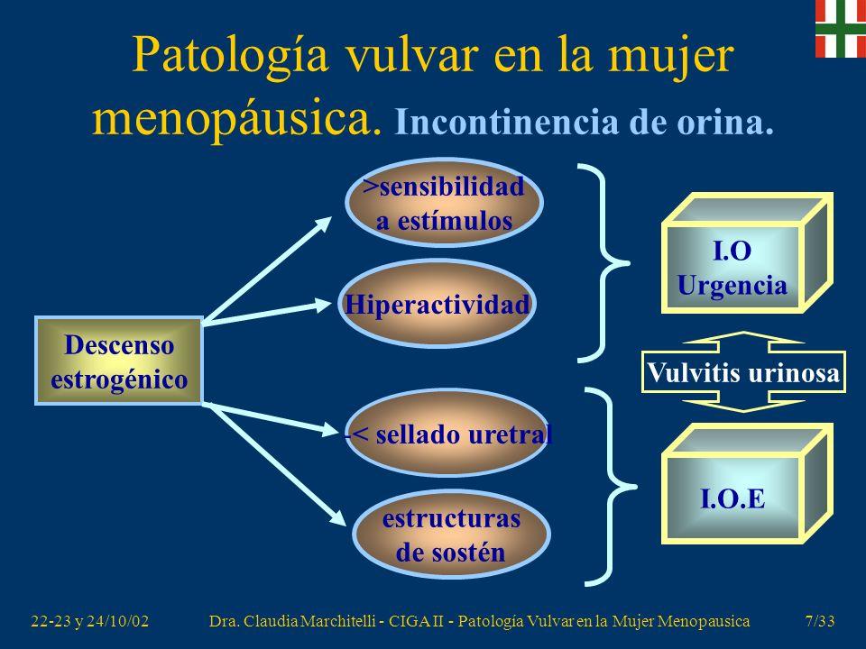 Patología vulvar en la mujer menopáusica. Incontinencia de orina.
