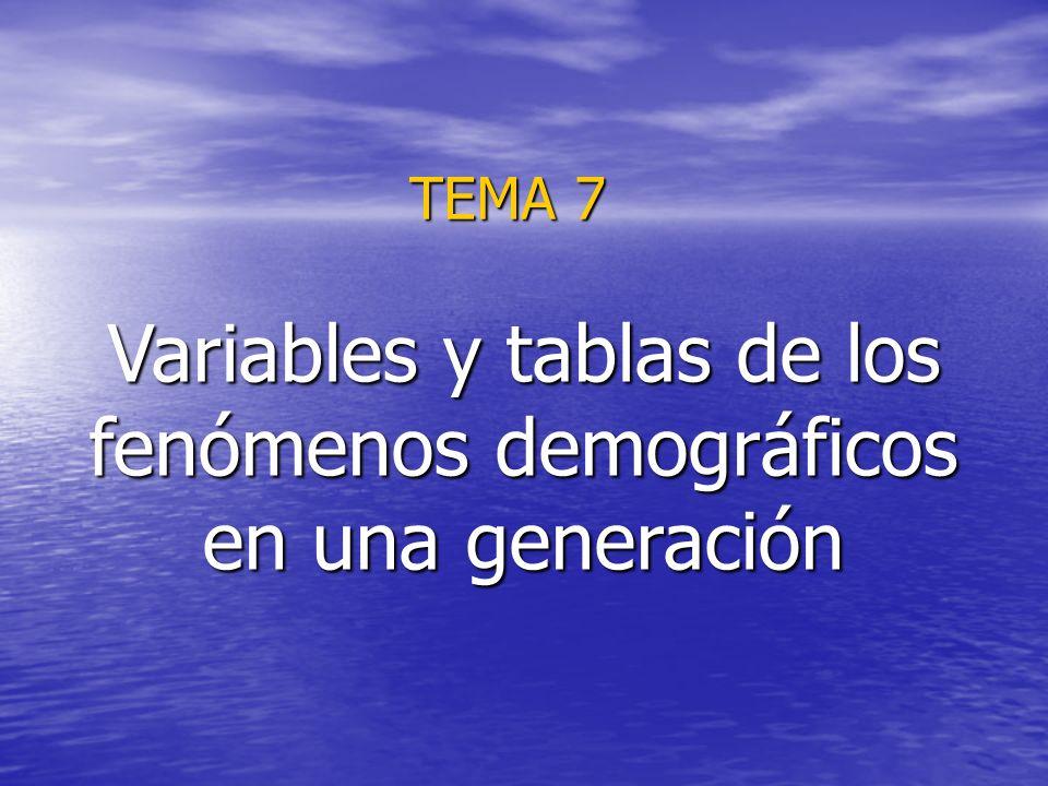 Variables y tablas de los fenómenos demográficos en una generación