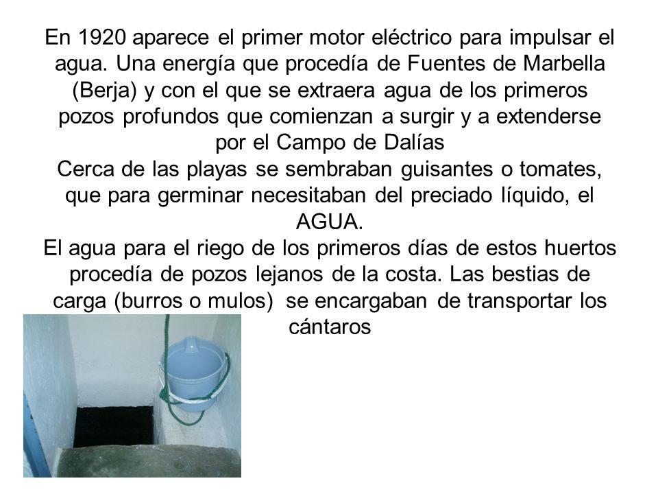 En 1920 aparece el primer motor eléctrico para impulsar el agua