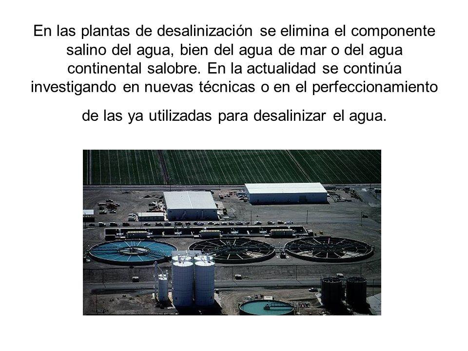 En las plantas de desalinización se elimina el componente salino del agua, bien del agua de mar o del agua continental salobre.