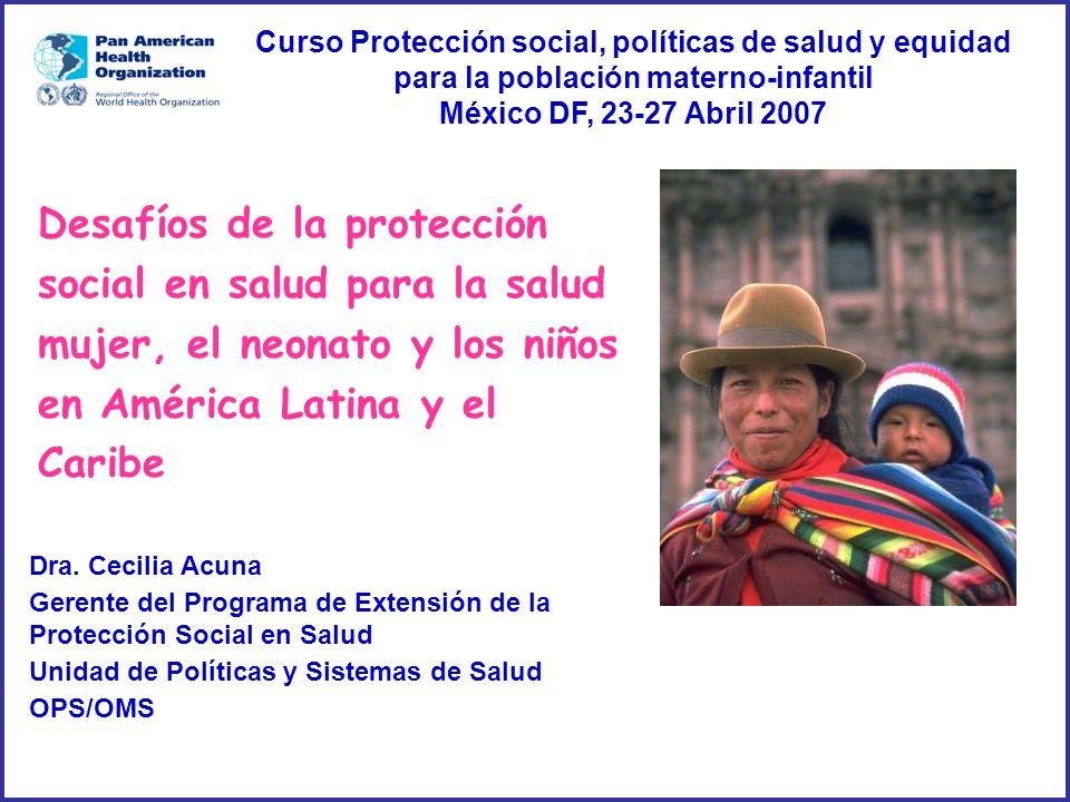Curso Protección social, políticas de salud y equidad para la población materno-infantil