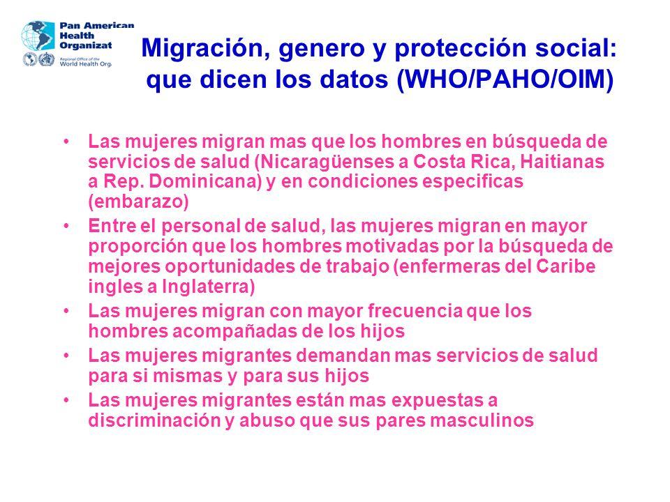 Migración, genero y protección social: que dicen los datos (WHO/PAHO/OIM)