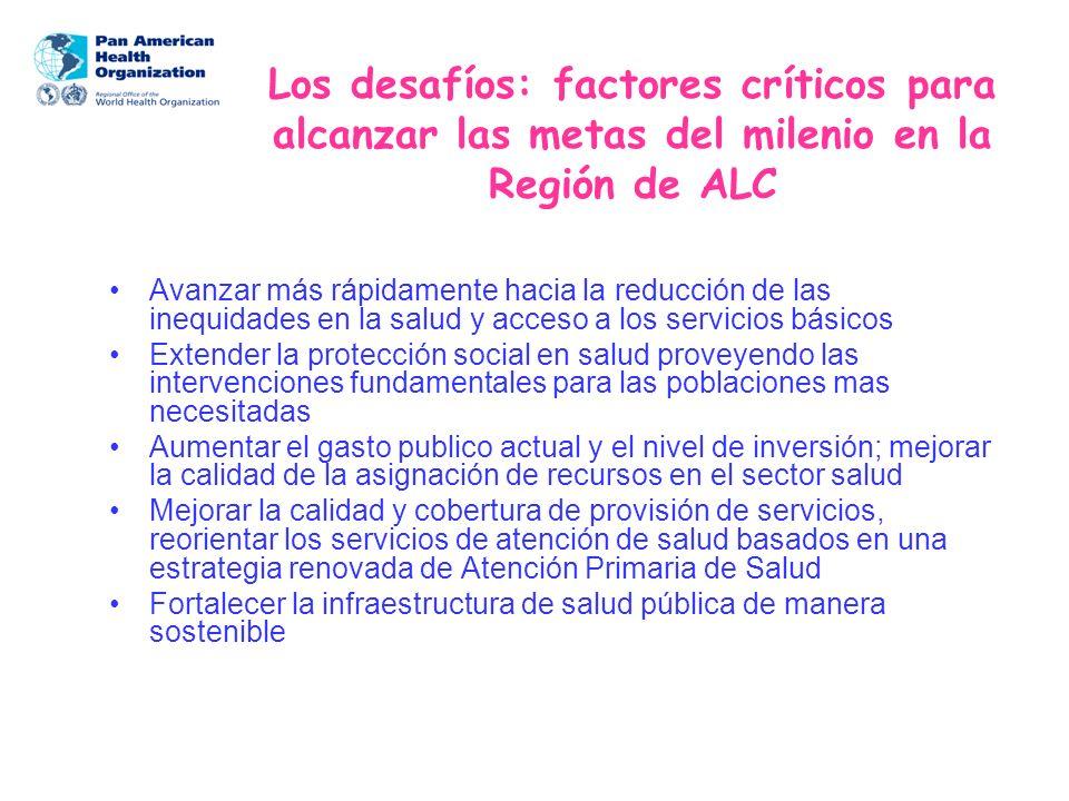 Los desafíos: factores críticos para alcanzar las metas del milenio en la Región de ALC