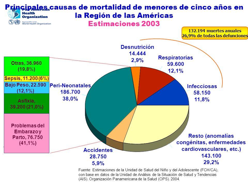 Principales causas de mortalidad de menores de cinco años en la Región de las Américas Estimaciones 2003