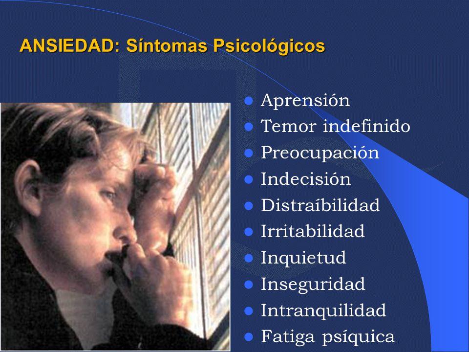 ANSIEDAD: Síntomas Psicológicos