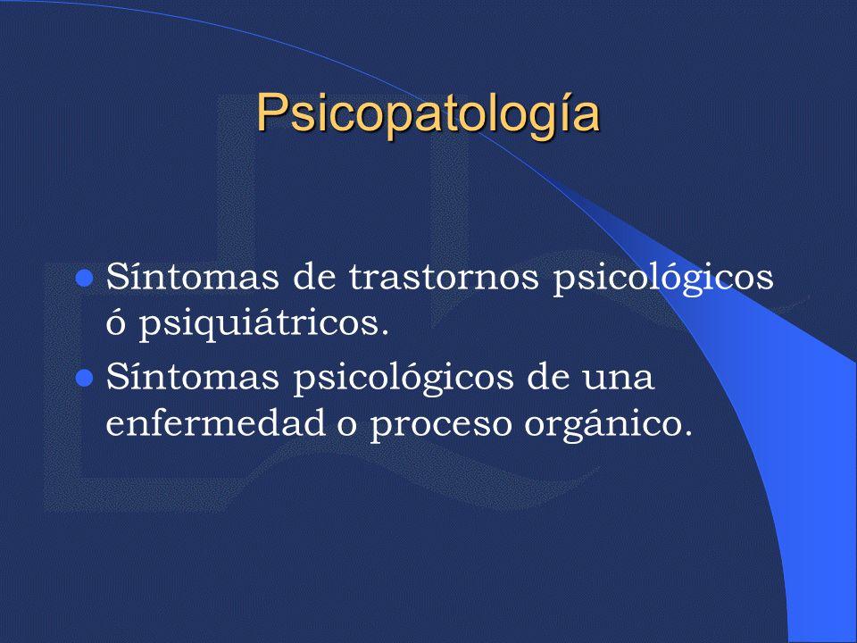 Psicopatología Síntomas de trastornos psicológicos ó psiquiátricos.