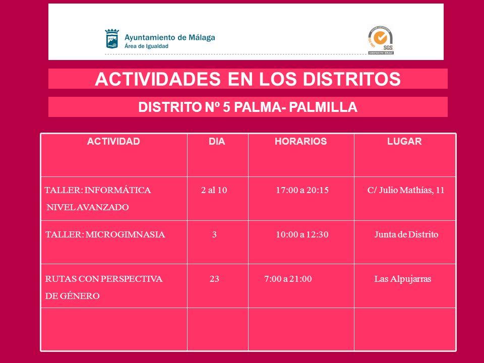 ACTIVIDADES EN LOS DISTRITOS DISTRITO Nº 5 PALMA- PALMILLA