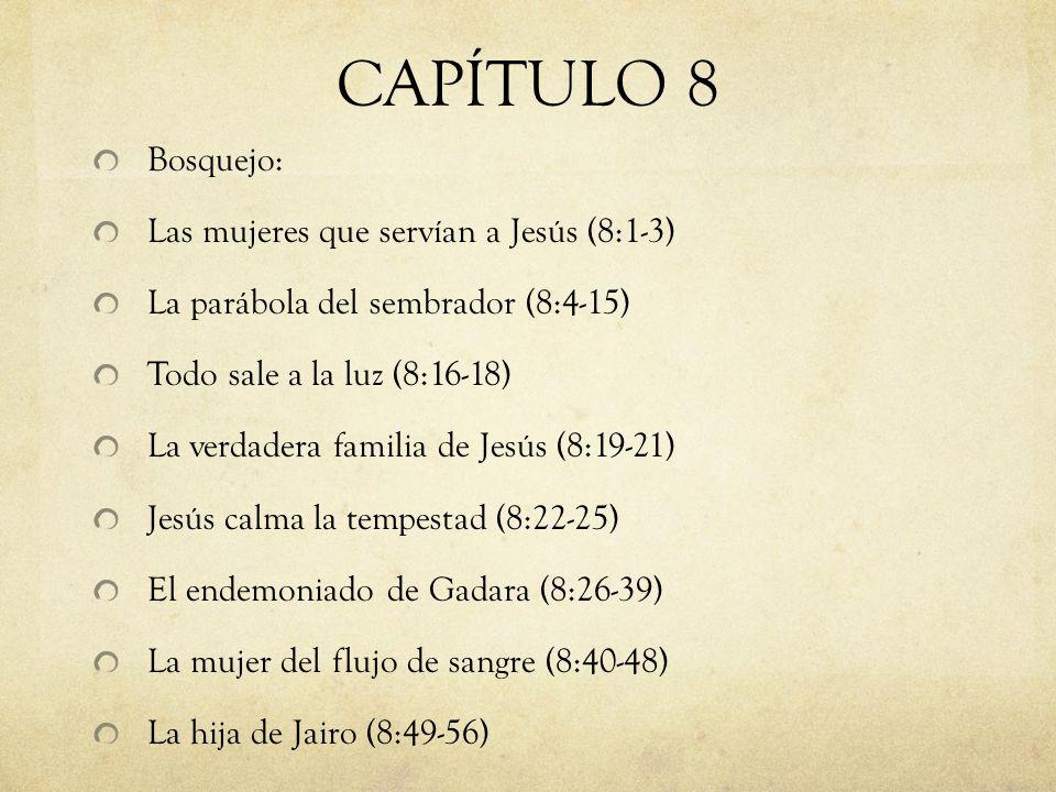 CAPÍTULO 8 Bosquejo: Las mujeres que servían a Jesús (8:1-3)