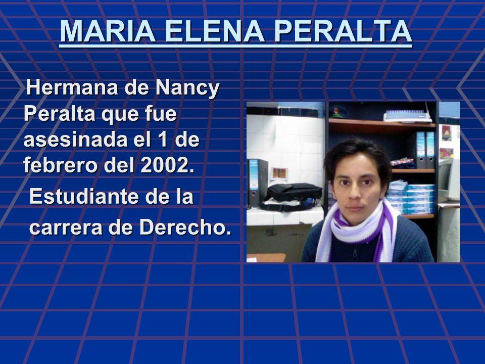 MARIA ELENA PERALTA Estudiante de la carrera de Derecho.