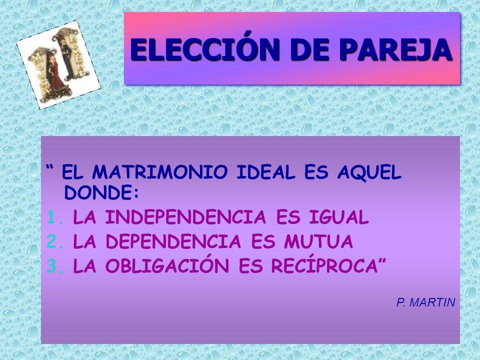 ELECCIÓN DE PAREJA EL MATRIMONIO IDEAL ES AQUEL DONDE:
