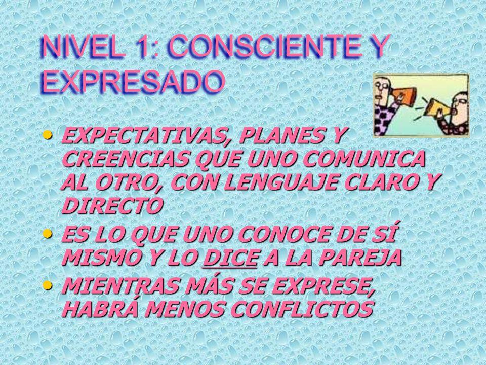 NIVEL 1: CONSCIENTE Y EXPRESADO