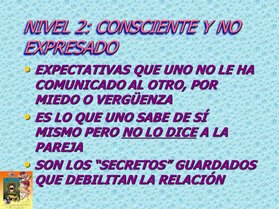 NIVEL 2: CONSCIENTE Y NO EXPRESADO