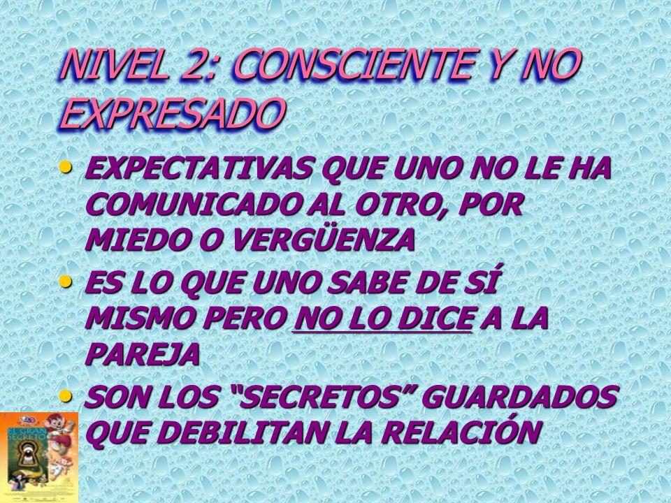 NIVEL 2: CONSCIENTE Y NO EXPRESADO