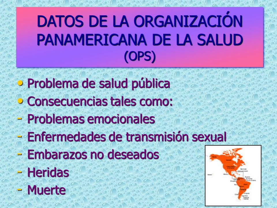 DATOS DE LA ORGANIZACIÓN PANAMERICANA DE LA SALUD (OPS)