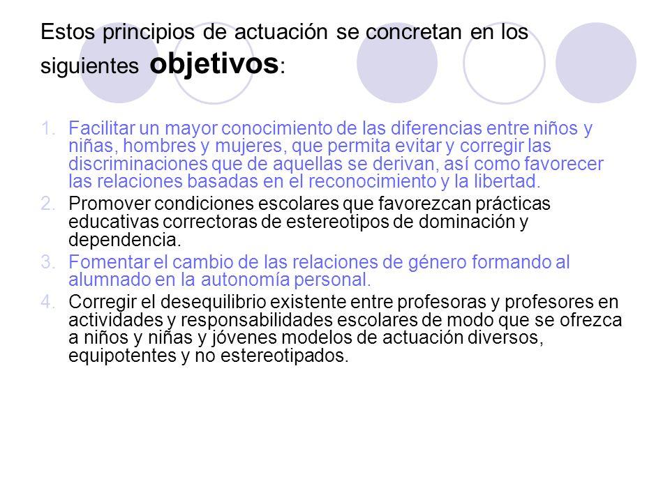 Estos principios de actuación se concretan en los siguientes objetivos: