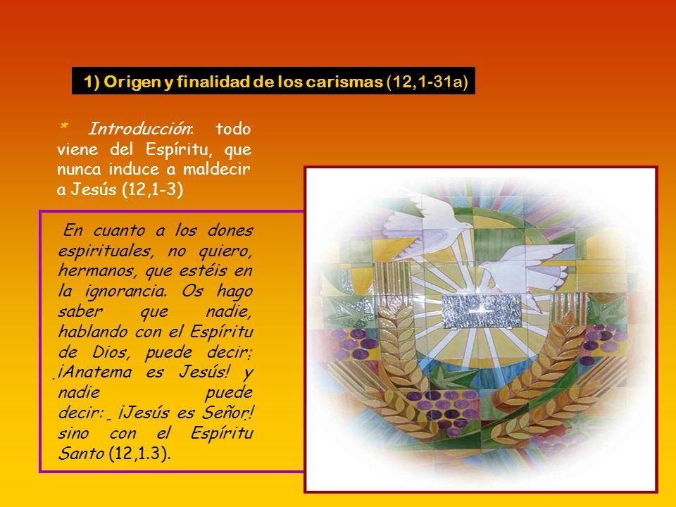 1) Origen y finalidad de los carismas (12,1-31a)