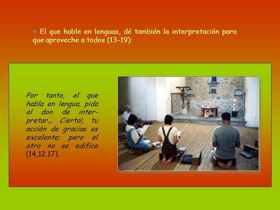 + El que hable en lenguas, dé también la interpretación para que aproveche a todos (13-19):