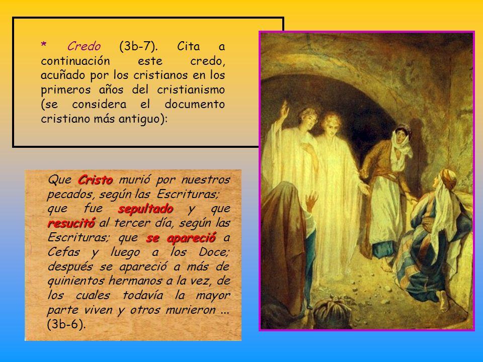* Credo (3b-7). Cita a continuación este credo, acuñado por los cristianos en los primeros años del cristianismo (se considera el documento cristiano más antiguo):