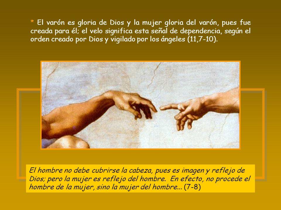 * El varón es gloria de Dios y la mujer gloria del varón, pues fue creada para él; el velo significa esta señal de dependencia, según el orden creado por Dios y vigilado por los ángeles (11,7-10).