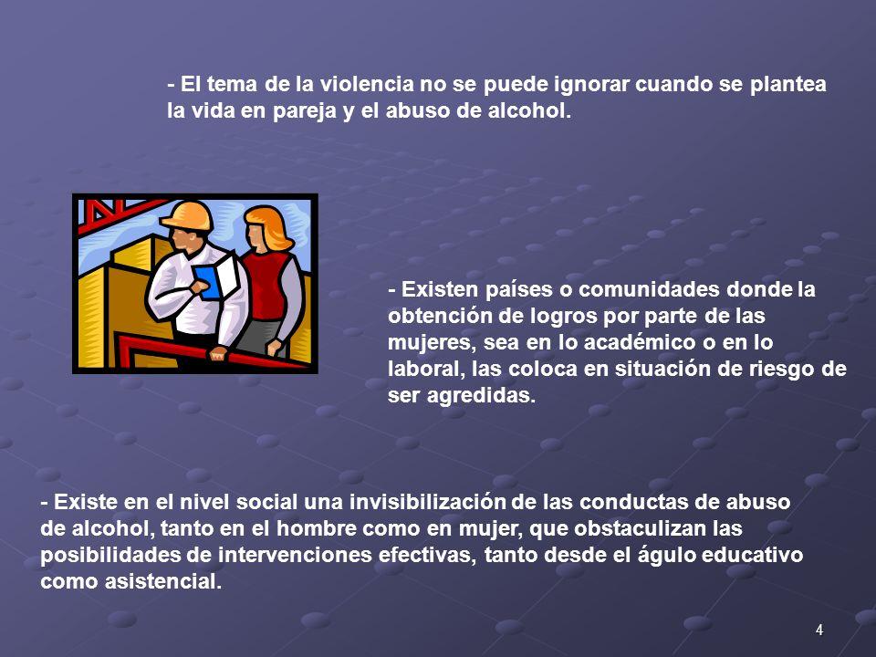 - El tema de la violencia no se puede ignorar cuando se plantea la vida en pareja y el abuso de alcohol.
