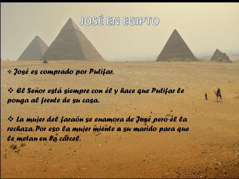 JOSÉ EN EGIPTO José es comprado por Putifar. El Señor está siempre con él y hace que Putifar le ponga al frente de su casa.