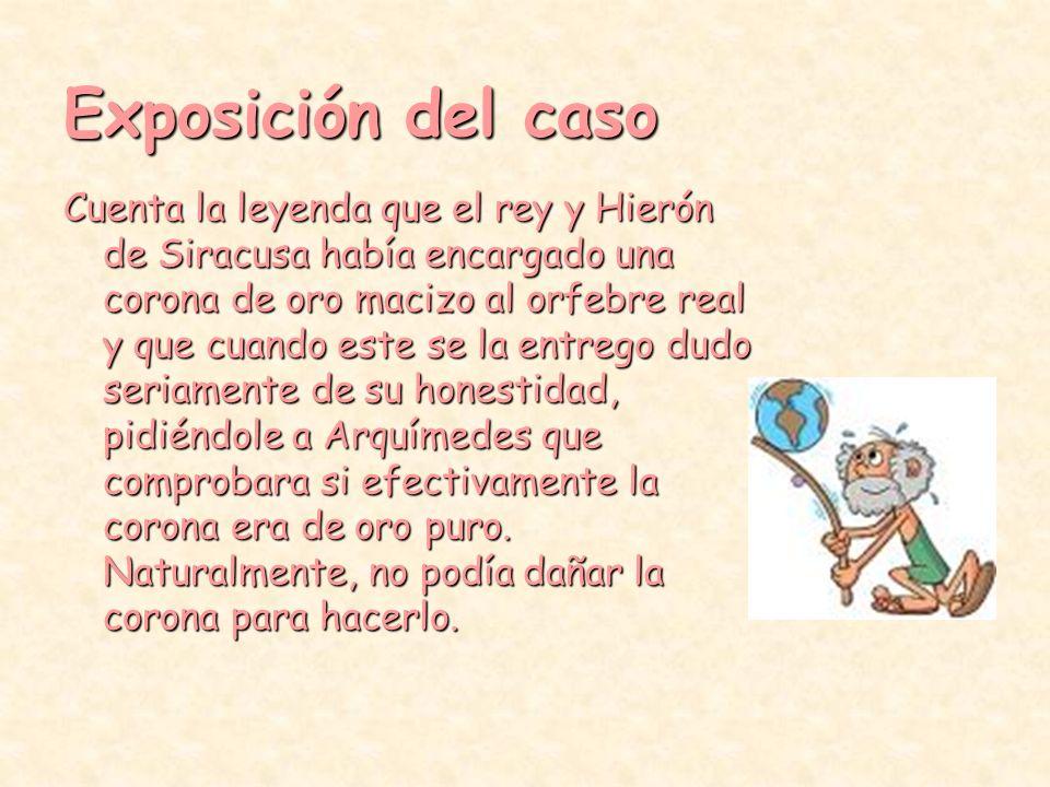Arquimedes y la corona Exposición del caso.