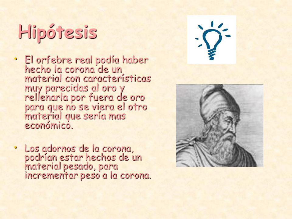 Arquimedes y la corona Hipótesis.