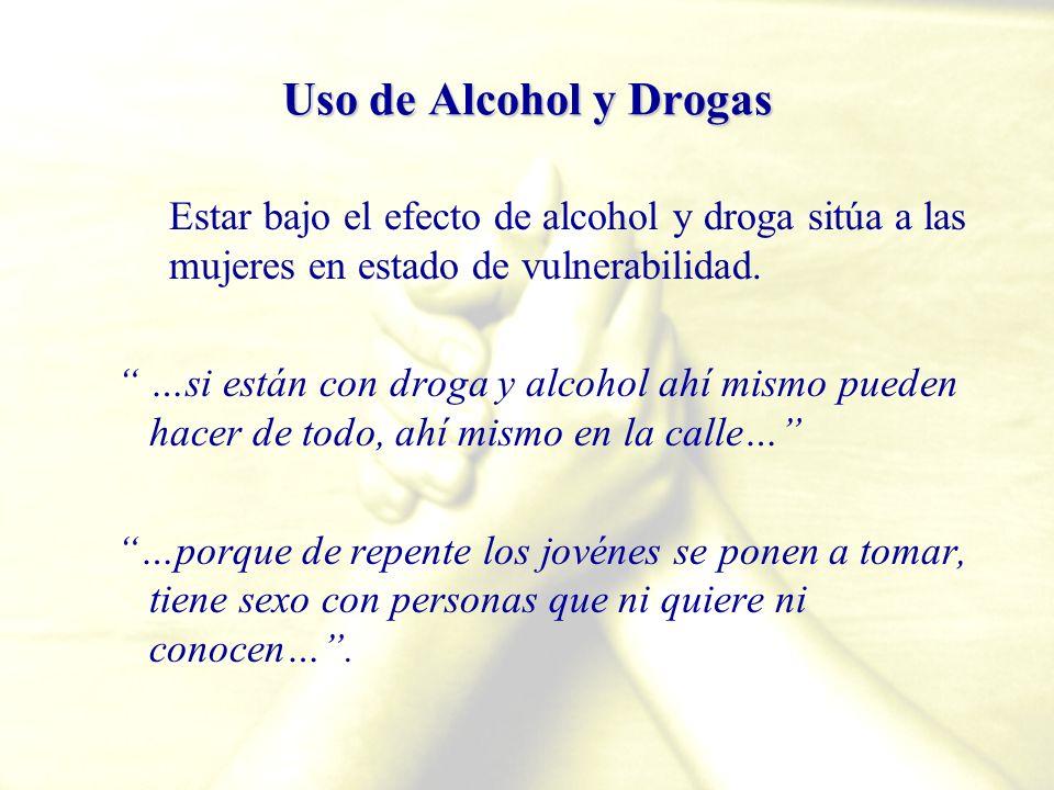 Uso de Alcohol y Drogas Estar bajo el efecto de alcohol y droga sitúa a las mujeres en estado de vulnerabilidad.