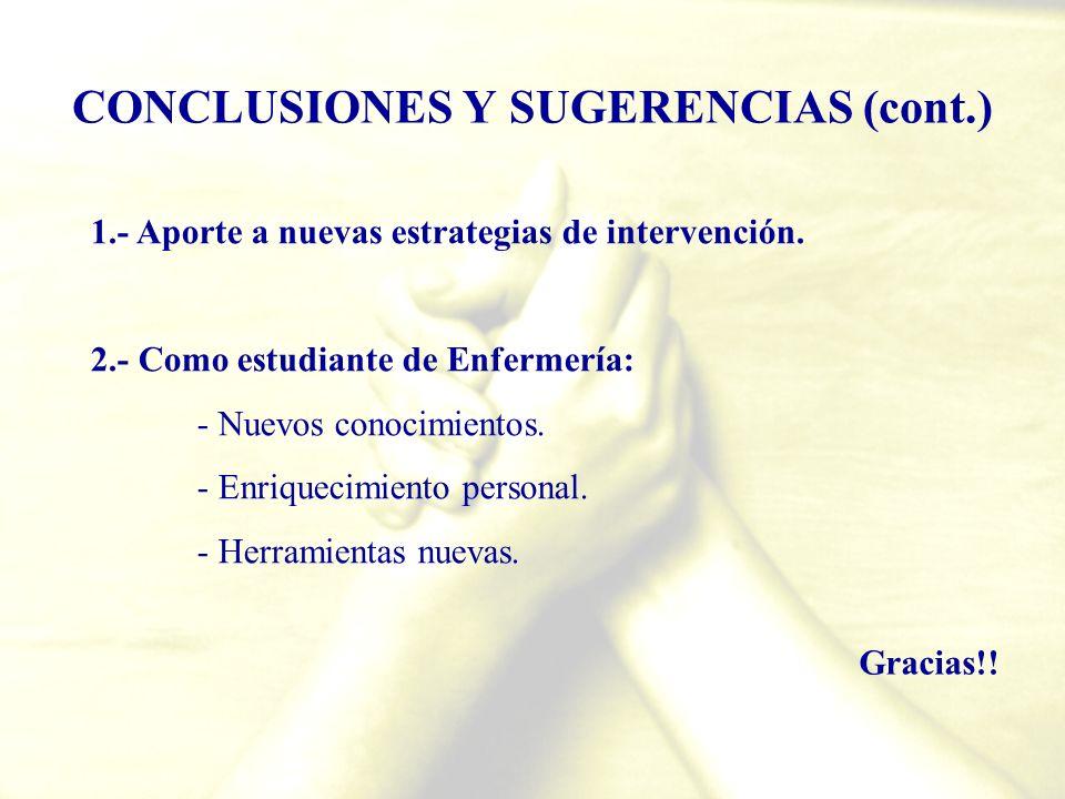 CONCLUSIONES Y SUGERENCIAS (cont.)