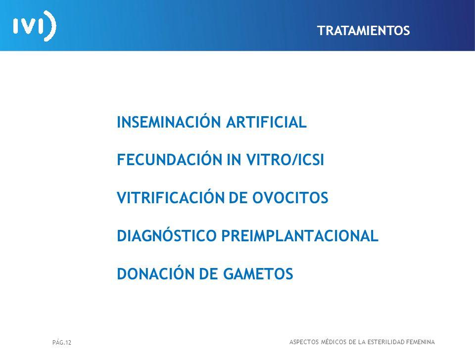 TRATAMIENTOS INSEMINACIÓN ARTIFICIAL FECUNDACIÓN IN VITRO/ICSI VITRIFICACIÓN DE OVOCITOS DIAGNÓSTICO PREIMPLANTACIONAL DONACIÓN DE GAMETOS.