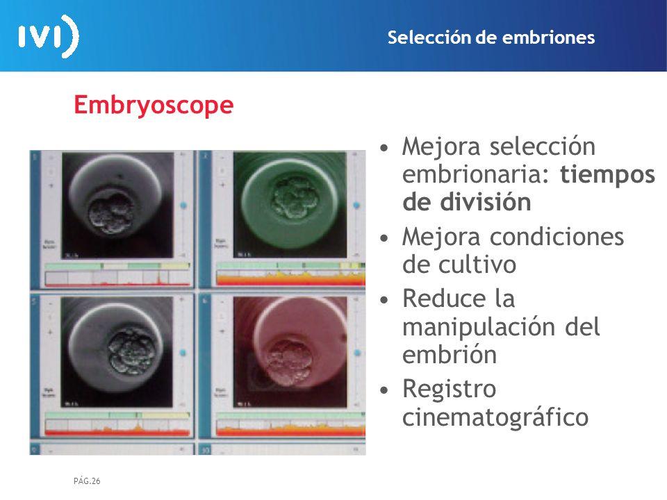 Mejora selección embrionaria: tiempos de división