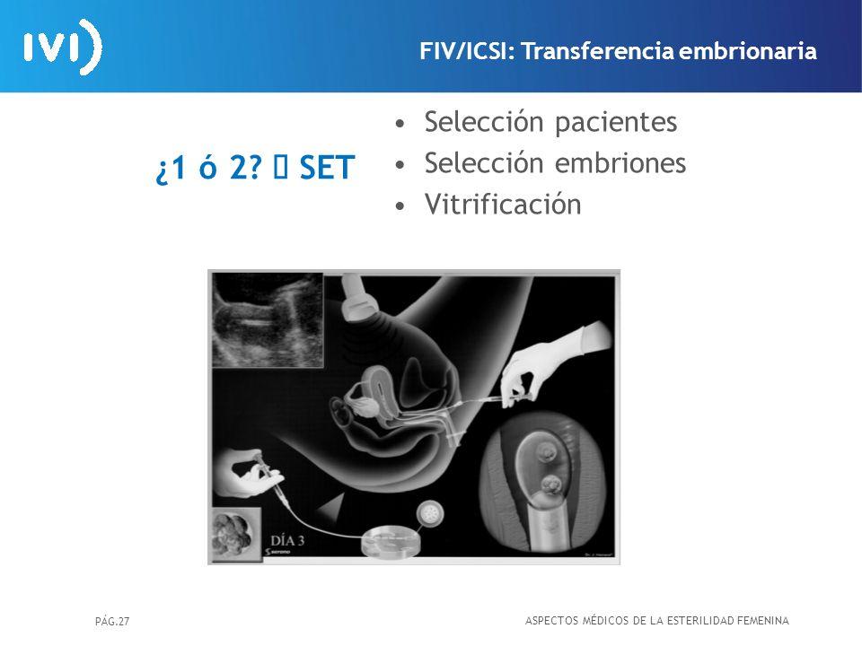 ¿1 ó 2 à SET Selección pacientes Selección embriones Vitrificación