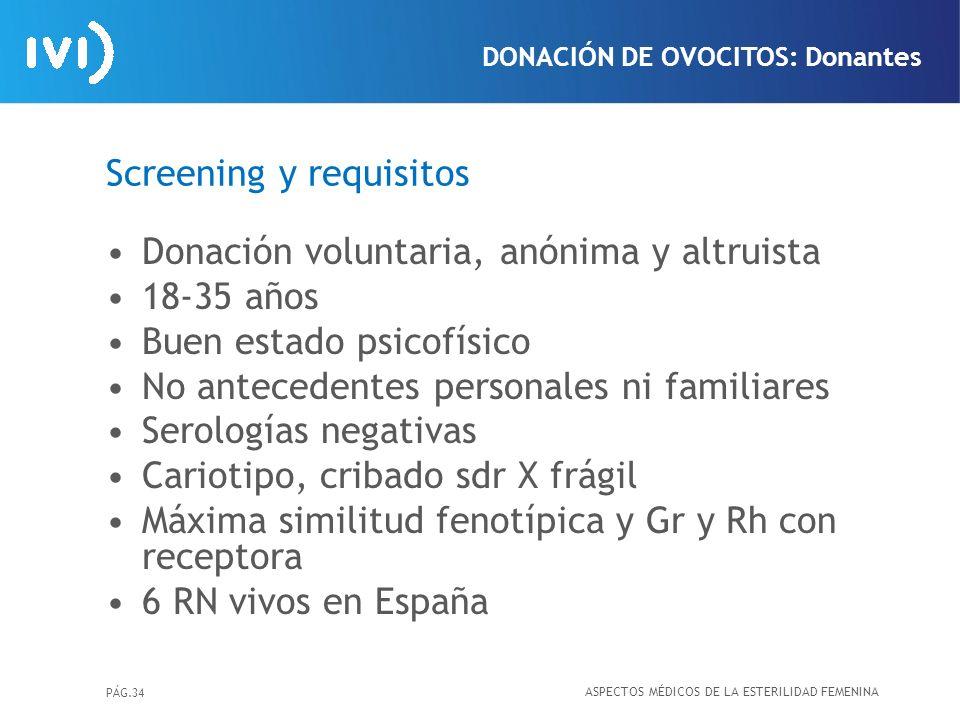 Screening y requisitos