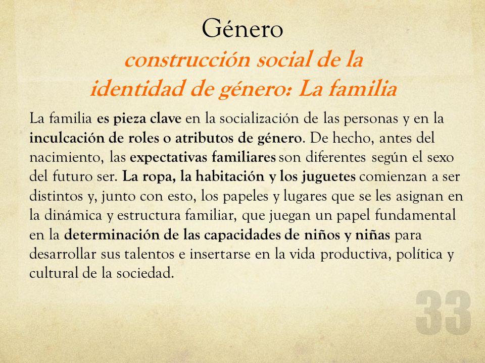 Género construcción social de la identidad de género: La familia