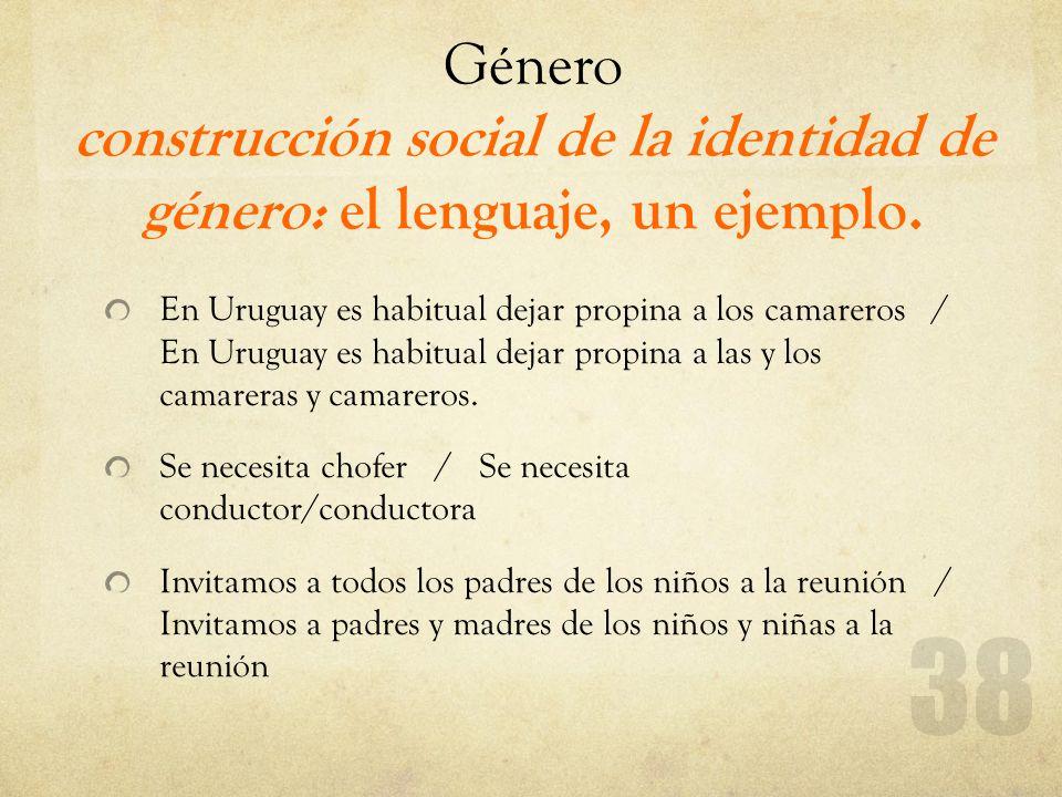 Género construcción social de la identidad de género: el lenguaje, un ejemplo.