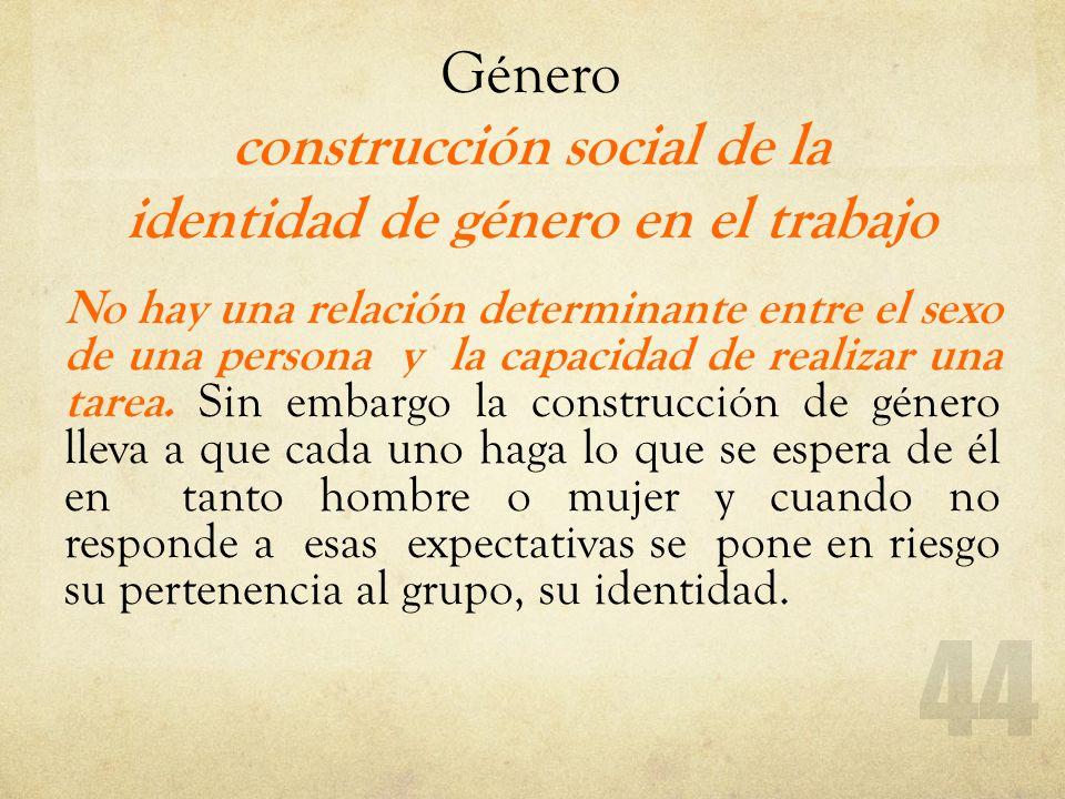 Género construcción social de la identidad de género en el trabajo