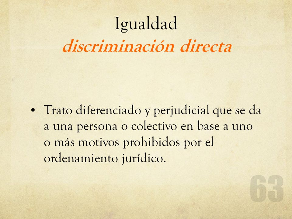 Igualdad discriminación directa