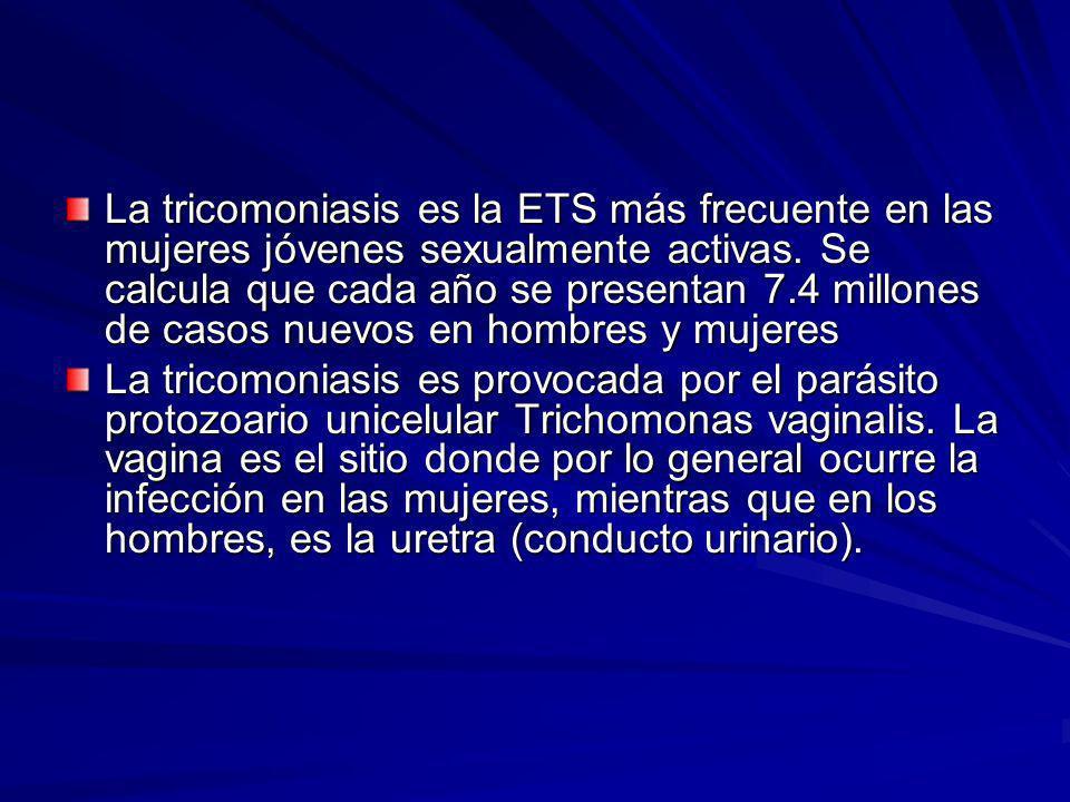 La tricomoniasis es la ETS más frecuente en las mujeres jóvenes sexualmente activas. Se calcula que cada año se presentan 7.4 millones de casos nuevos en hombres y mujeres
