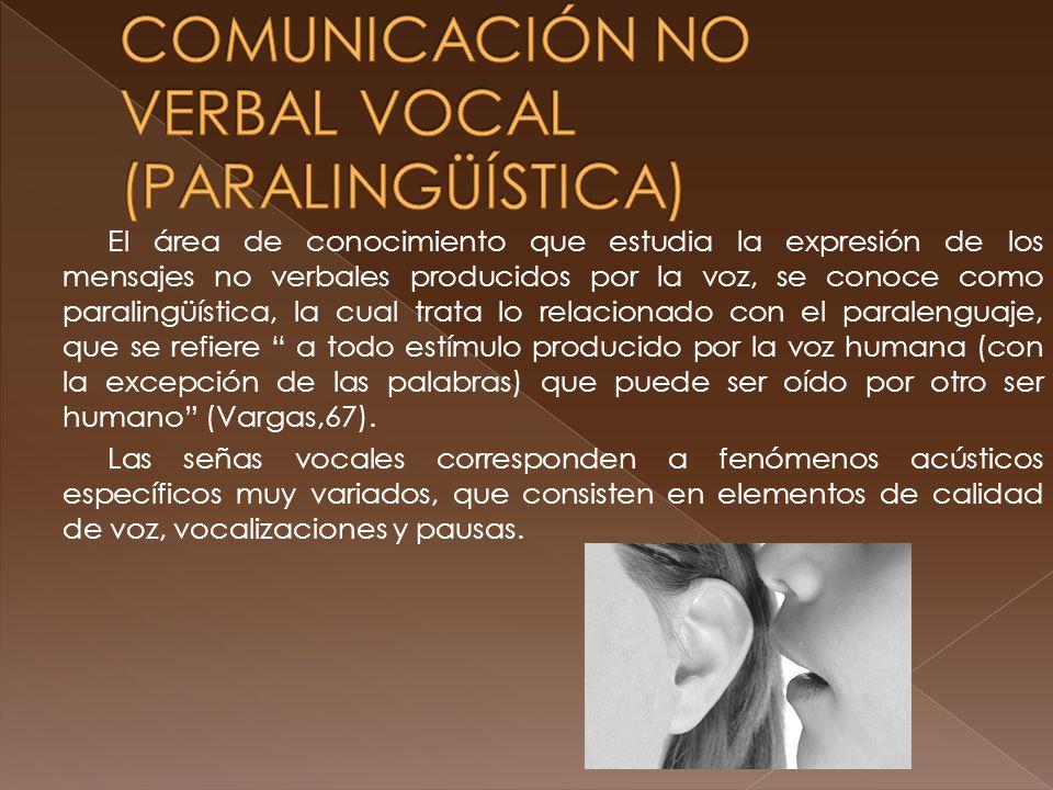 COMUNICACIÓN NO VERBAL VOCAL (PARALINGÜÍSTICA)