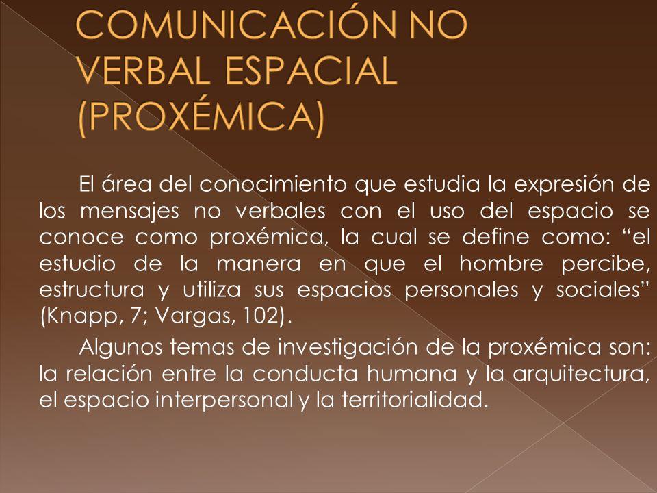 COMUNICACIÓN NO VERBAL ESPACIAL (PROXÉMICA)