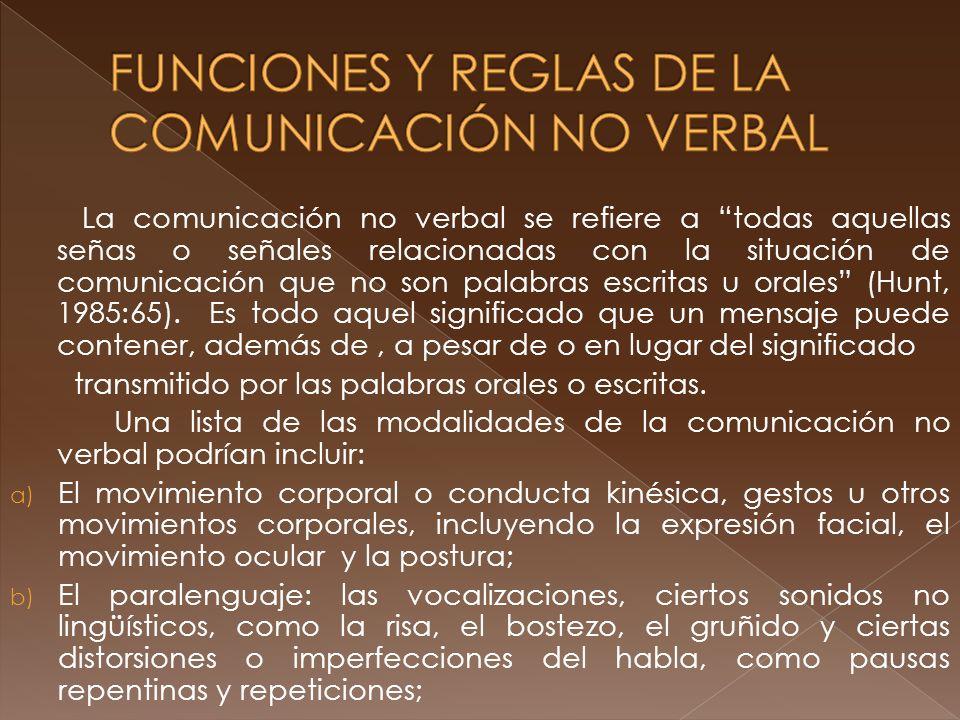 FUNCIONES Y REGLAS DE LA COMUNICACIÓN NO VERBAL